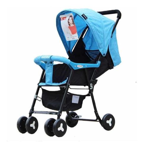 coche paseador para bebés ultra liviano reclinable azulygris
