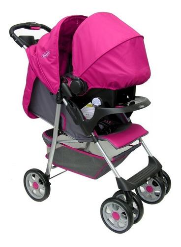 coche paseo silla auto bebesit travel system arnés 5p rosa