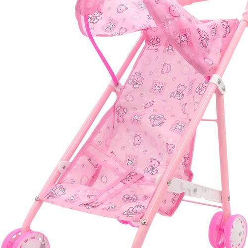 coche rosa paraguitas plegable para bebotes hasta 40 cm