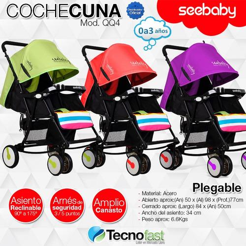cochecito cuna seebaby qq4 mecedor plegable reclinable