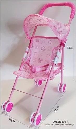 cochecito silla de paseo para muñecas metalico moody