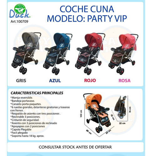 cochecitos bebes cuna party vip duck con manija rebatible