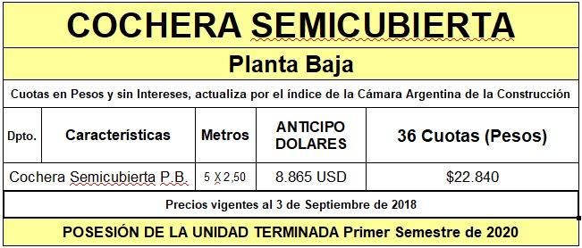 cochera pb anticipo u$s 9100 + 36 cuotas pesos $56.000 x mes