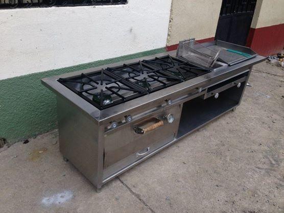 Cocina 3 Quemadores Acero Con Freidora Plancha Y Horno De