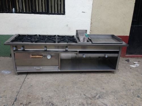 Cocina 3 quemadores acero con freidora plancha y horno de - Cocinas con plancha incorporada ...