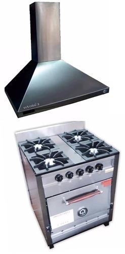cocina 4 hornallas pevi industrial 70 cm + campana conica