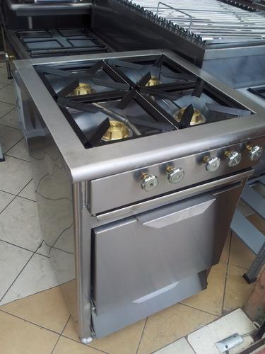 cocina 4 hornillas en acero inoxidable y horno fabricantes