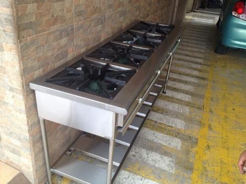 cocina 4 quemadores indistrial en acero inoxidable