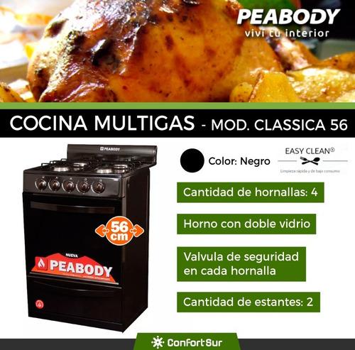 cocina a gas clasica 56cm peabody 4 hornallas negra *10