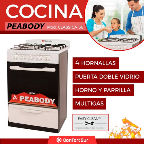 cocina a gas classica 56 peabody 4 hornallas easy clean *10