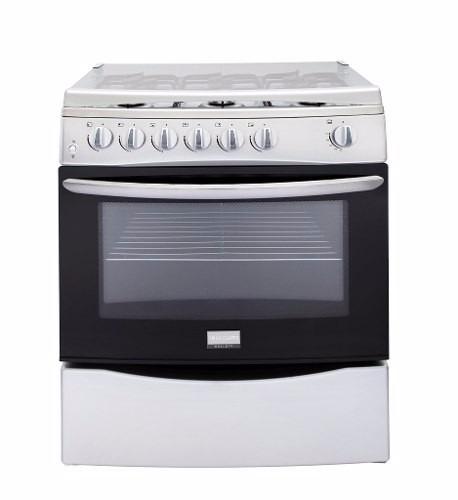 Cocina a gas con horno frigidaire plateada de 6 quemadores for Cocina 6 quemadores