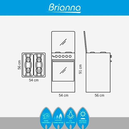 cocina a gas ecoline brianna 4 q inoxidable / encd electric