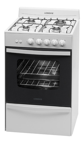 cocina a gas longvie 13331bf 56cm blanca cajón parrilla