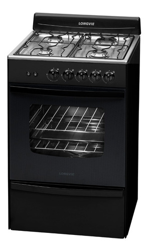 cocina a gas longvie 13331gf 56cm grafito cajón parrilla