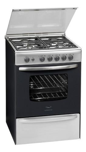 cocina a gas longvie 18600xf 60cm inox tapa de vidrio