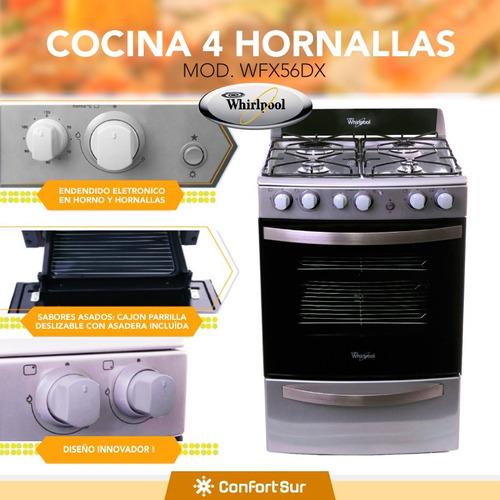 cocina a gas whirlpool 4 horn acero inox wfx56dx env *6