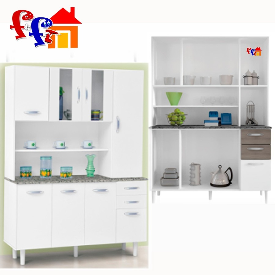 Ff kit mueble de cocina alacena 8 puertas 2 cajones vidrio en mercado libre - Muebles de cocina en kit ...