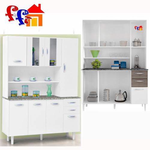 Kit Mueble De Cocina Alacena 8 Puertas 2 Cajones Vidrio Ff  $ 2850