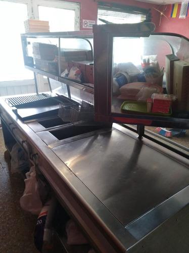 cocina autoservicio, freidora,asador,plancha,mostrador,mesas