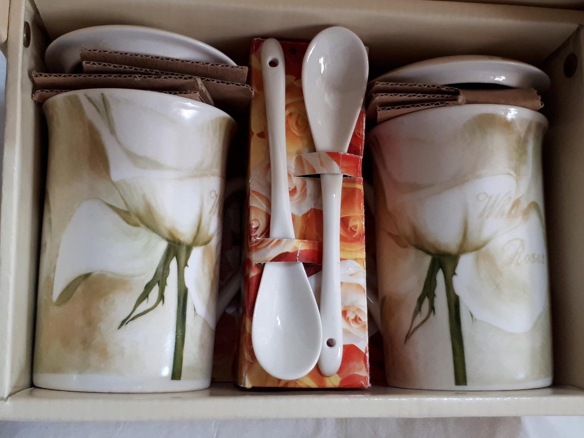 Cocina - Caja Con 2 Tazas Decoradas Tapa Y Cuchara 10 Cm - $ 995,00 ...