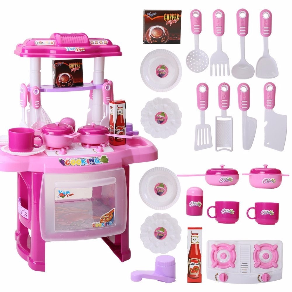 Kitchen Set For New Home: Cocina Cocinita Para Niñas Con 21 Accesorios Rosa