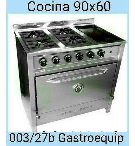cocina compacta de 4 hornallas y plancha gastroequip