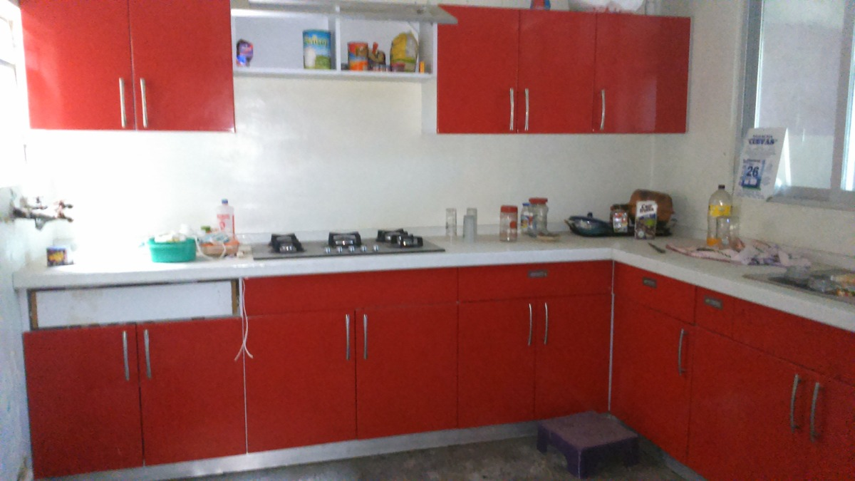 Cocina completa roja dise o en escuadra grande - Precio cocina completa ...