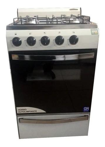 cocina coronado 53cm acero inoxidable 4 hornallas horno