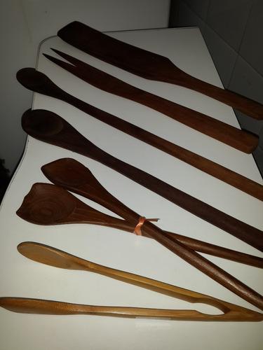 cocina - cucharas lotex7 palos madera pala tenedor pinza