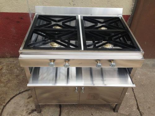 cocina de 4 quemadores con mueble cuadrada