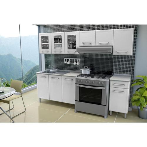 cocina de acero mod. gourmet 2.40mt blanca