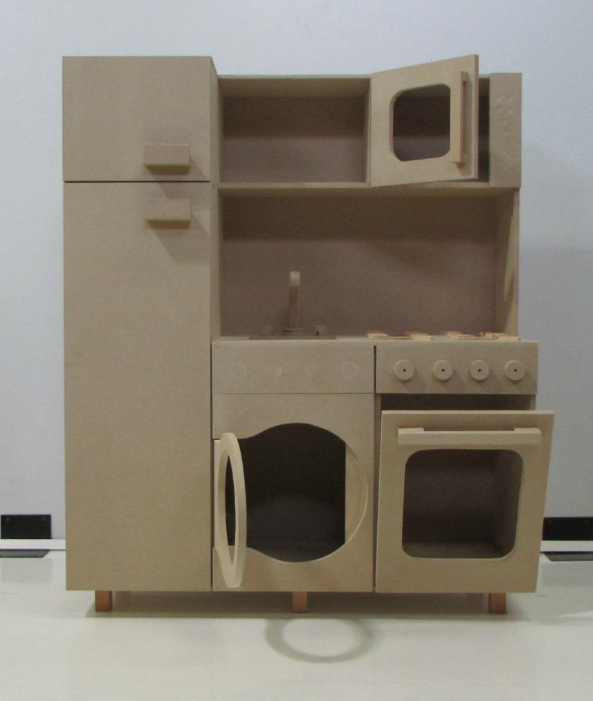 Cocina de juguete hecho en madera para ni os bs for Muebles de mdf para cocina