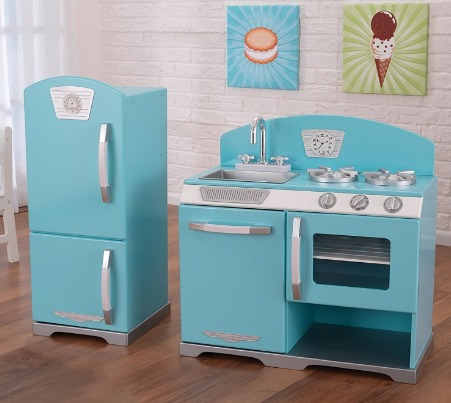 cocina de juguete madera kidkraft 2-piece retro , blue
