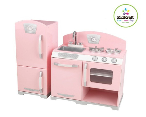 cocina de juguete madera kidkraft retro  and refrigerator