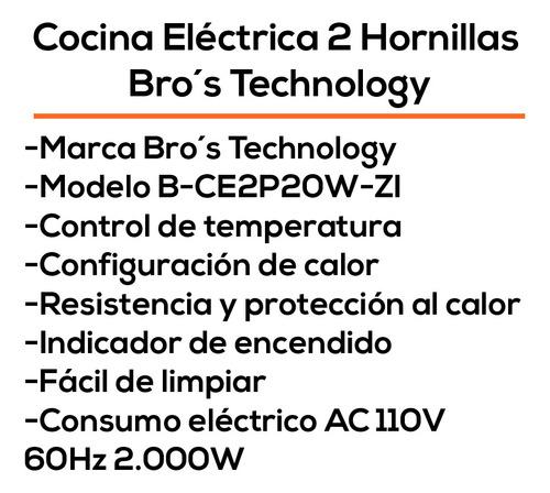 cocina electrica 2 hornillas bros technolgy 110v 2000w bagc