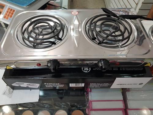 cocina eléctrica 2 hornillas general electric en acero.