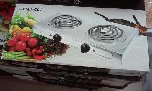 cocina electrica 2hornillas ge general electric cromada ofer