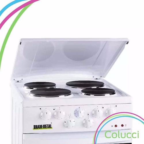 cocina electrica bram metal 4h 50 cm con tapa y timer