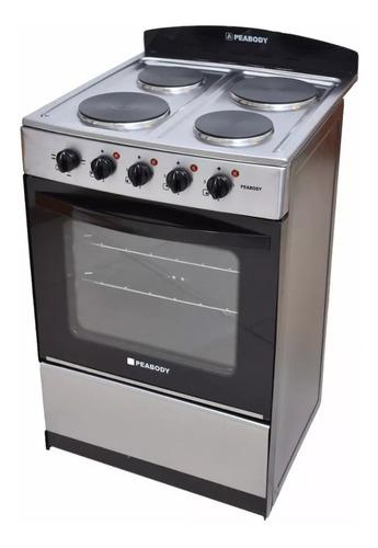 cocina electrica peabody 4 hornallas 56cm acero inox horno