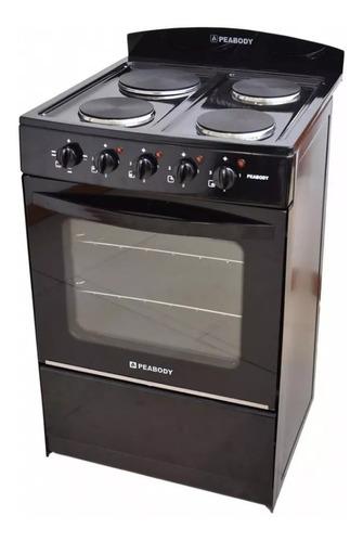 cocina electrica peabody 4 hornallas 56cm negro horno grill