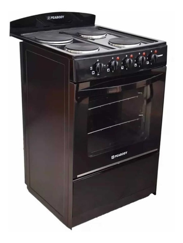 cocina electrica peabody 56 negro de 4 bocas horno grill