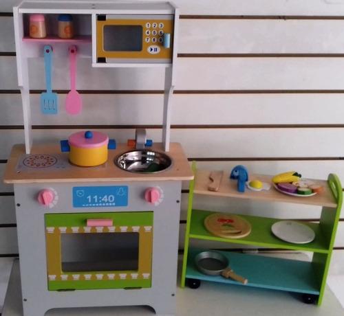 cocina en madera + auxiliar con estantes juguetes niños niña
