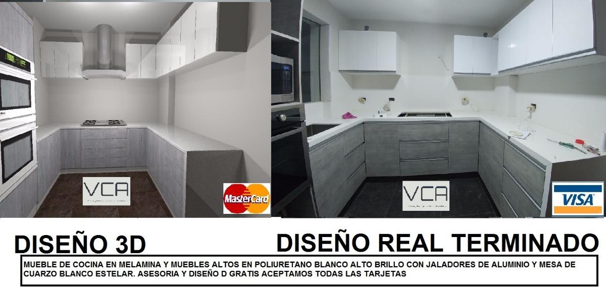 Cocina En Melamina,poliuretano, Asesoria Y Diseño 3d Gratis - S/ 830 ...