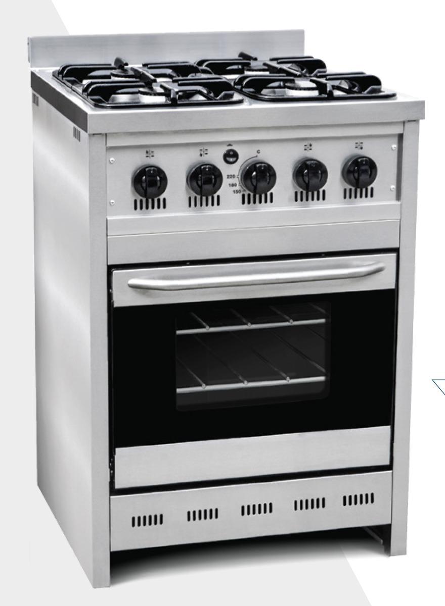 Cocina Gas Acero Deluxe 4 Hornallas Horno Corbelli 60cm 23 069