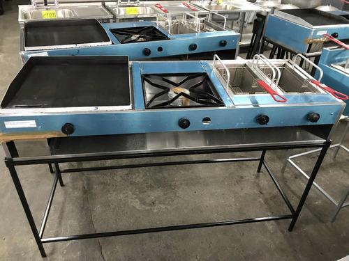 cocina gas freidor plancha equipo integrado acero inox