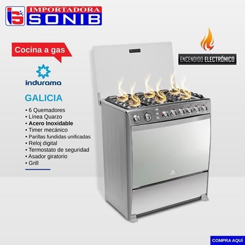 cocina indurama galicia a gas 6 quemadores