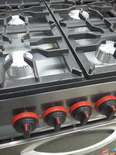 cocina industrial 4 hornallas acero 56 cm con horno pizzero