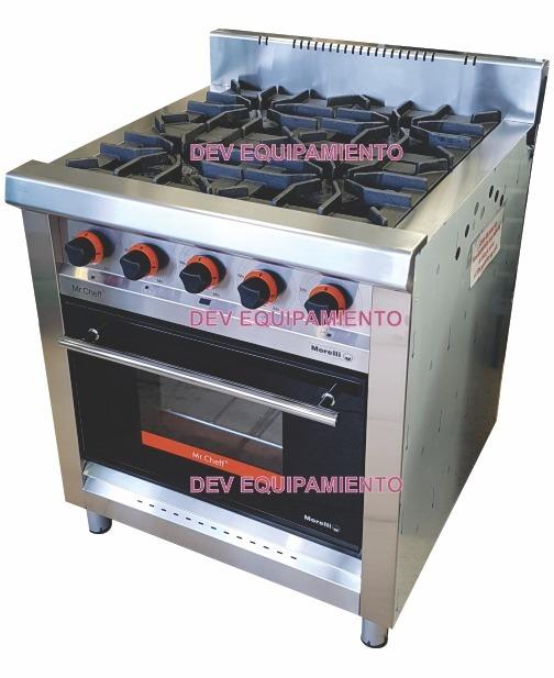 Cocina Industrial 4 Hornallas Morelli Mr Cheff 750 Pesada