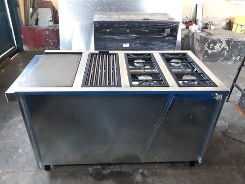 cocina industrial 4 hornillas con plancha,grill,horno,gratin