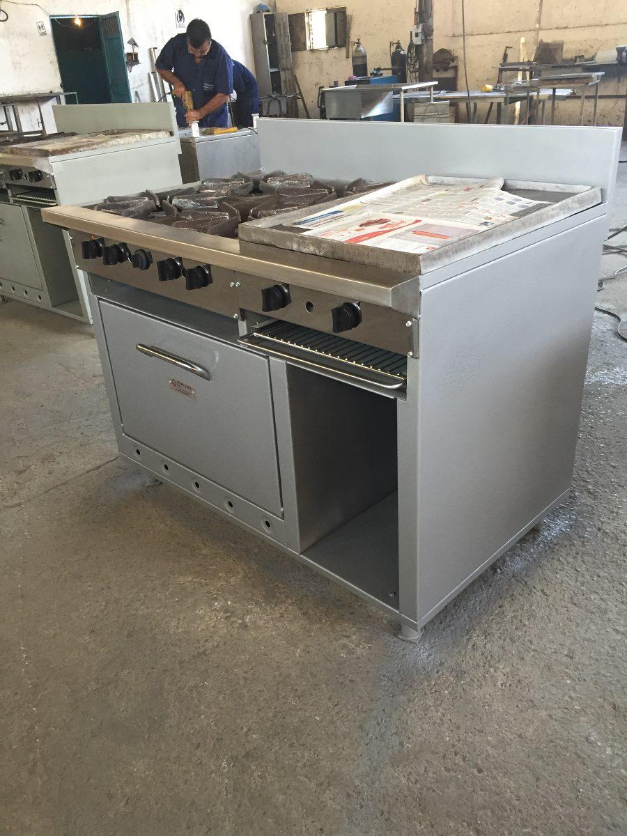Cocina industrial 4 hornillas plancha horno y gratinador - Cocinas con plancha incorporada ...